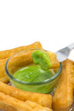 Chinese doughnut with pandan dipping custard Royalty Free Stock Images