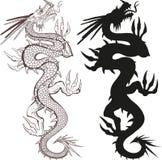 Chinese draak die naar omhoog kruipen Stock Foto's