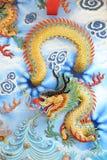 Chinese draak op muur Stock Fotografie