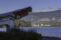 Chinese draak in Stanley Park in Vancouver stock afbeeldingen