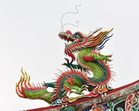 A chinese dragon. On the roof stock photo
