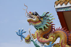 Chinese dragon. Head on the roof on temple Royalty Free Stock Images