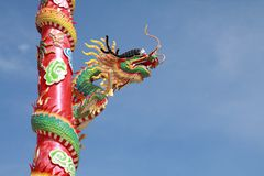 Chinese dragon. With blue sky background Royalty Free Stock Image