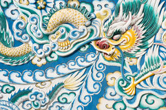 Chinese dragon. Sculpture chinese dragon on the wall at Bang Pa-in Palace Thailand Stock Photography