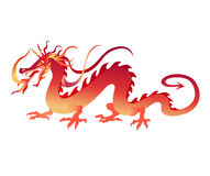 Chinese dragon. Vector  Illustration of angry red chinese dragon in a tattoo/ tribal style Royalty Free Stock Images