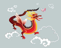 Chinese dragon. Chinese-style dragon with the butterfly in the air Stock Photo