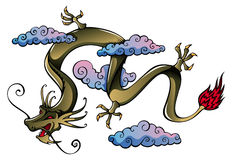 Chinese Dragon. Flying Chinese dragon, symbol of 2012 year, vector illustration Stock Image