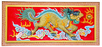 Chinese dragon. On temple wall stock photo