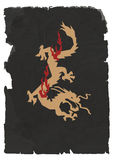 Chinese Dragon. Vector sheet of black torn paper with Chinese Dragon Royalty Free Stock Images