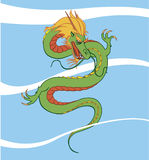 Chinese dragon. Vector Chinese dragon in sky Stock Illustration