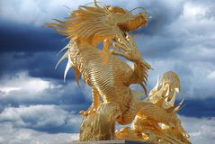 Chinese dragon. Scene of the chinese dragon on background sky stock image