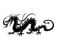 Chinese dragon. Vector  Illustration of angry chinese dragon in a tattoo/ tribal style Royalty Free Stock Photography
