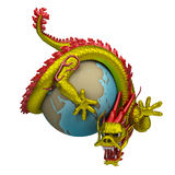 Chinese dragon around the globe. Chinese dragon twists around the globe. 3d image. Isolated white background vector illustration
