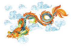 Chinese Dragon. Asian dragon illustration. Chinese Dragon. Traditional symbol of dragon. Watercolor hand painted illustration vector illustration