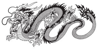 Free Chinese Dragon Black And White Royalty Free Stock Image - 83695876