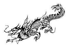 Chinese dragon black on the white. Traditional asian dragon black on the white vector Royalty Free Stock Image