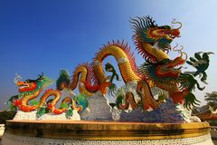 Chinese dragon. The chinese dragon with blue sky Stock Images