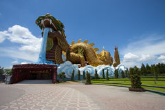 Chinese Dragon on blue sky. Big Chinese Dragon with blue sky Stock Photos