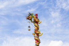 Chinese dragon on blue sky Royalty Free Stock Photography