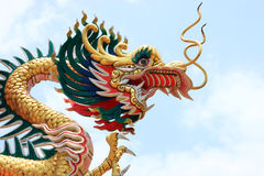 Chinese dragon on blue sky. Royalty Free Stock Photography