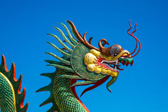 Chinese Dragon on the blue sky. Stock Photos