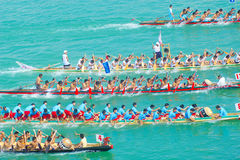 Chinese dragon boat. The annual Lunar May 5 annual Dragon Boat Festival in China, across the country will hold dragon boat races.Some places in the National Day( Royalty Free Stock Photography