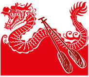 Chinese Dragon Boat background illustration Stock Photo