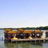 Chinese dragon boat. The chinese dragon boat berth at this dock on the Kunming lake in the Summer Palace stock images