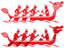 Chinese Dragon Boat competition illustration. In two styles Stock Images