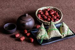 Dragon Boat Festival traditional food zongzi. Chinese Dragon Boat Festival traditional food zongzi royalty free stock images