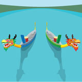 Chinese Dragon boat and zong zi art design Royalty Free Stock Image