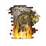 Chinese dragon on a brick background  fire Royalty Free Stock Photo