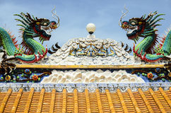 Chinese Dragon. In Buddhist Temple, Thailand Royalty Free Stock Images