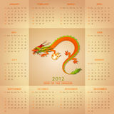 Chinese dragon calendar 2012 Stock Image
