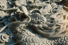 Chinese dragon carve in front of Wat Leng Noei Yi Chinese temple Royalty Free Stock Photos