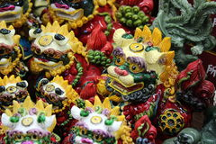Chinese dragon carvings. Group of colorful Chinese dragon carvings Royalty Free Stock Images