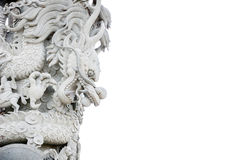 Chinese dragon, Chinese temple stone carved white scenes. Royalty Free Stock Photo