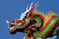 Chinese Dragon. Closeup of chinese style dragon in blue sky royalty free stock photo