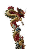 Chinese Dragon Crawl. Golden Dragon crawl around the red pillar, background is isolate Royalty Free Stock Photos