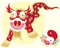 Chinese dragon dance. An illustration of a traditional chinese dragon dance with yinyang symbol and flowers on a pale yellow background Royalty Free Stock Image