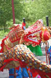 Chinese dragon-dance. Performance between the ruins of an ancient industrial coal-mine Royalty Free Stock Images