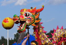 Chinese Dragon Dancers With Dragon Royalty Free Stock Photography