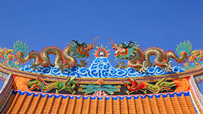 Chinese dragon decoration on the roof Royalty Free Stock Image