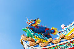 Chinese dragon decoration on the roof against blue sky Royalty Free Stock Images