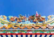 Chinese dragon decoration on the roof against blue sky Stock Photo