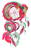 Chinese Dragon  and dreamcatcher card. Chinese Dragon and dreamcatcher card. Watercolor ethnic dreamcatcher. Traditional symbol of dragon. Watercolor hand Royalty Free Stock Image