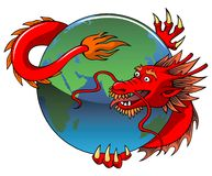 Chinese dragon entwining Earth Stock Photography