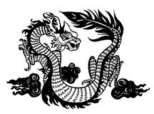 Chinese dragon. Fantastic Chinese dragon. A black-and-white vector illustration Royalty Free Stock Photography