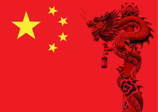 Chinese dragon flag. Royalty Free Stock Photo