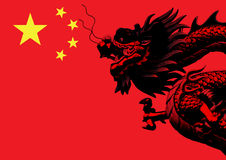 Chinese dragon flag Royalty Free Stock Image